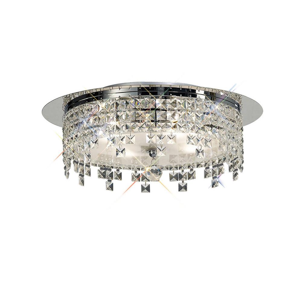 Esta Ceiling Round 6 Light Polished Chrome/Glass/Crystal