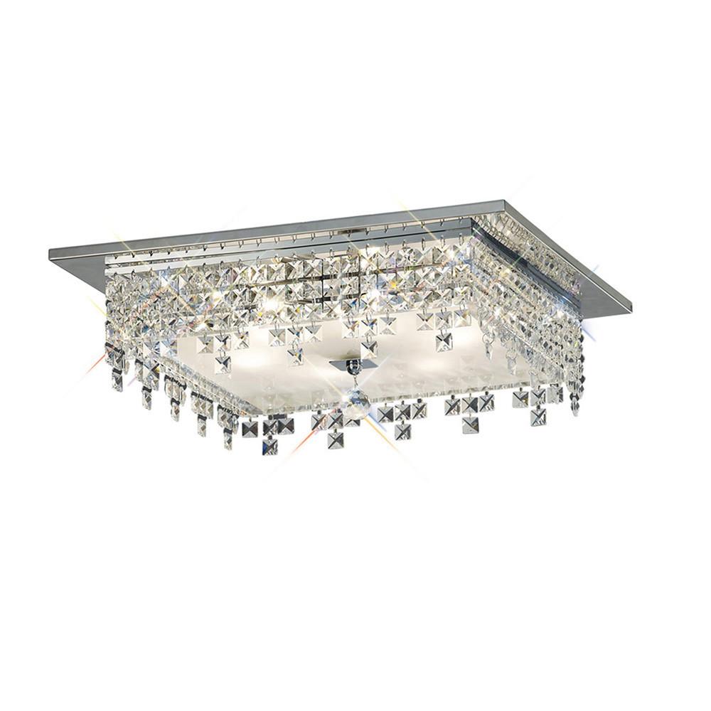 Esta Ceiling Square 6 Light Polished Chrome/Glass/Crystal