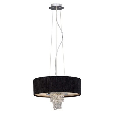 Nerissa Pendant With Black or White Shade 4 Light Polished Chrome/Crystal