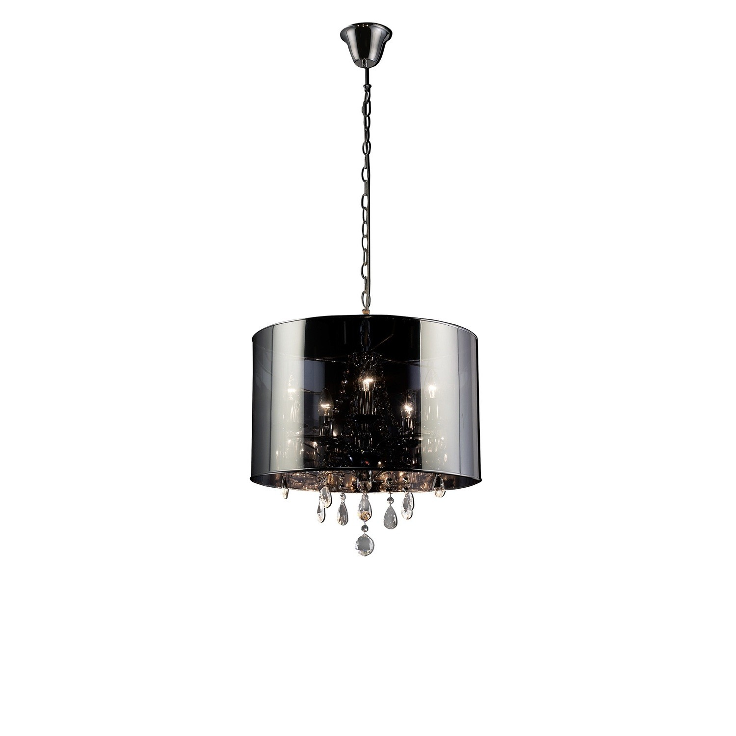 Trace Pendant With Chrome Shade 5 Light E14 Polished Chrome/PVC /Crystal