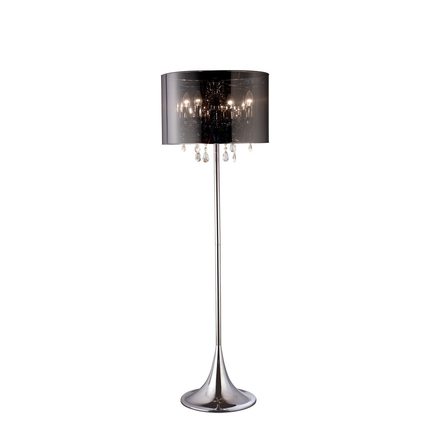 Trace Floor Lamp With Chrome Shade 4xE14 Light Polished Chrome//PVC/Crystal