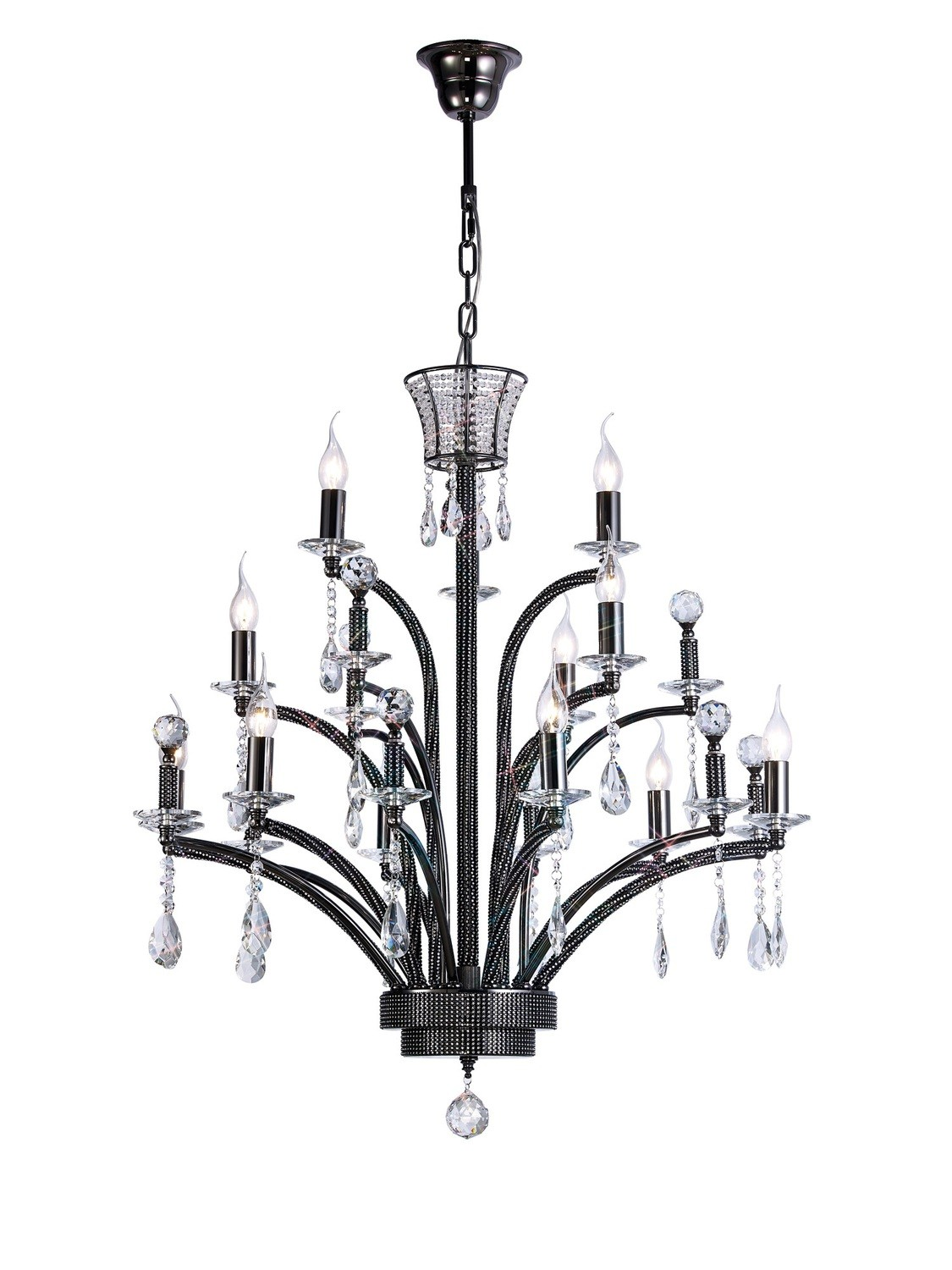 Orlando Pendant Large 12 Light Black Chrome (ITEM REQUIRES ASSEMBLY)