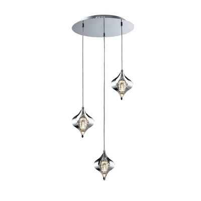 Amano Pendant Round 3 Light Polished Chrome/Crystal