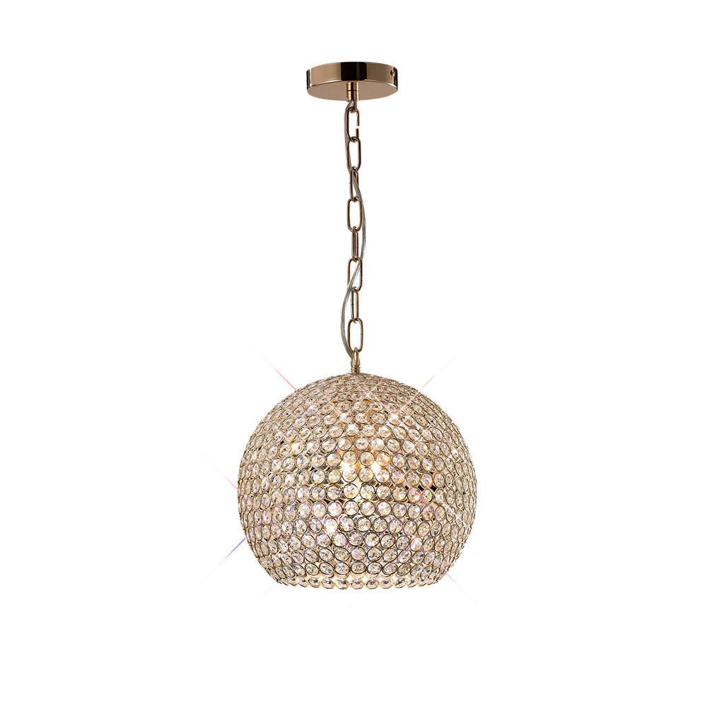 Ava Pendant 5 Light French Gold/Crystal