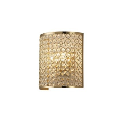 Ava Wall Lamp Rectangle 2 Light French Gold/Crystal