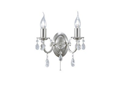 Kyra Wall Lamp Switched 2 Light Satin Nickel/Crystal