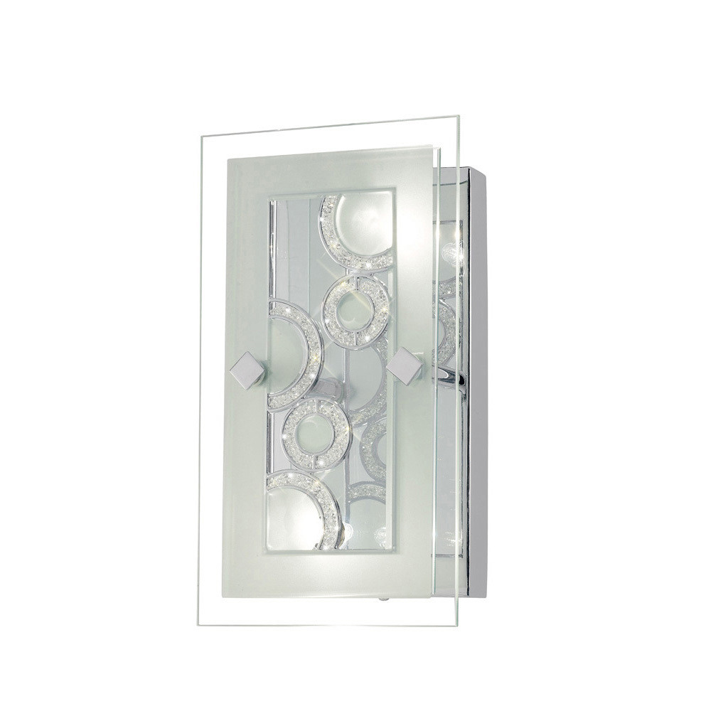 Destello Wall Lamp/Ceiling Rectangle With Circle Pattern 2 Light Polished Chrome/Crystal