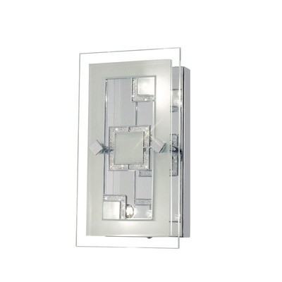 Destello Wall Lamp/Ceiling Rectangle With Square Pattern 2 Light Polished Chrome/Crystal