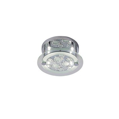 Destello Ceiling Round With Circle Pattern 4 Light Polished Chrome/Crystal
