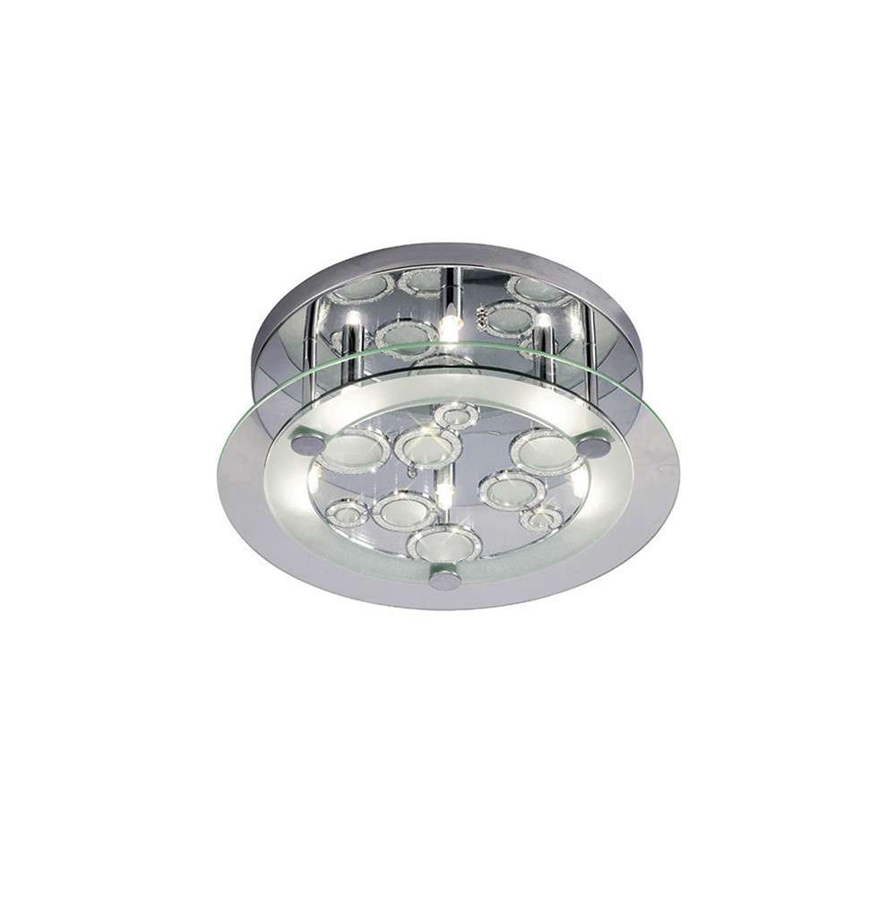 Destello Ceiling Round With Circle Pattern 6 Light Round Polished Chrome/Crystal