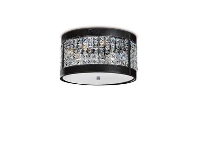 Celsa Ceiling 3 Light Polished Chrome/Black Faux Leather/Crystal