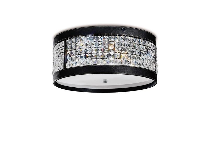 Celsa Ceiling 4 Light Polished Chrome/Black Faux Leather/Crystal