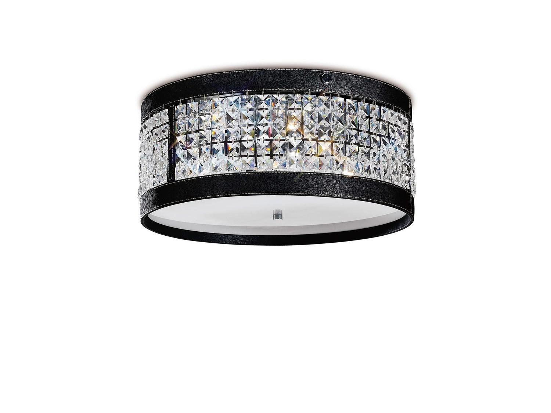 Celsa Ceiling 4 Light Polished Chrome/Black Faux Leather/Crystal