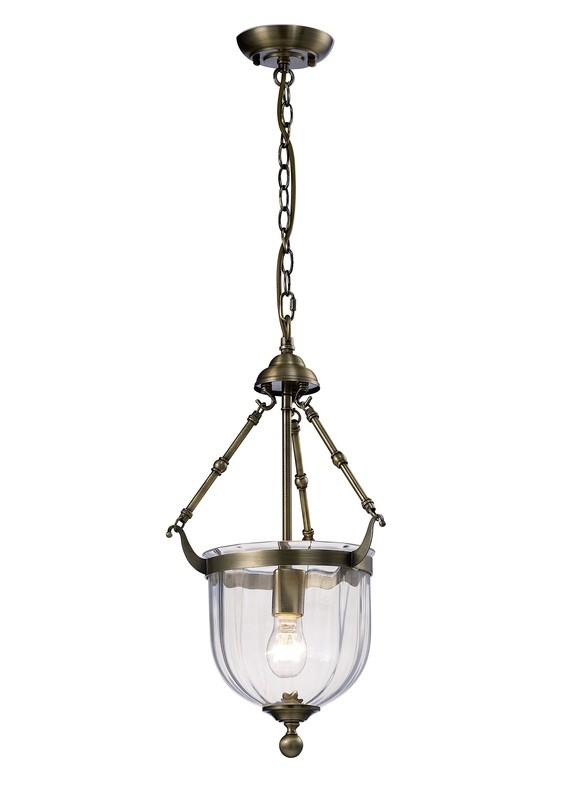 Aubrey Pendant 1xE14 Light Antique Brass/Glass