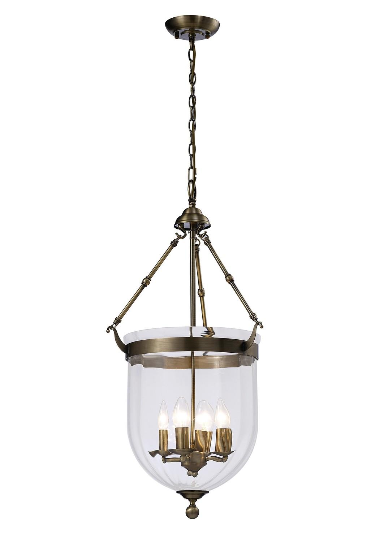 Aubrey Pendant 4xE14 Light Antique Brass/Glass