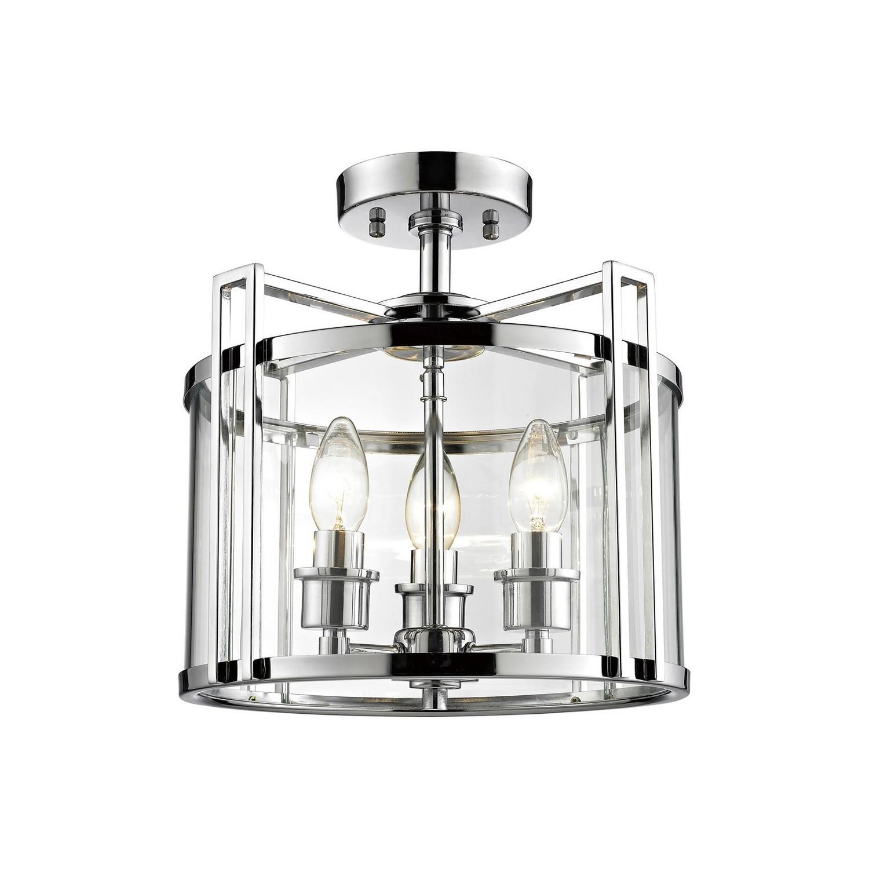 Eaton Semi Ceiling 3xE14 Light Polished Chrome/Glass