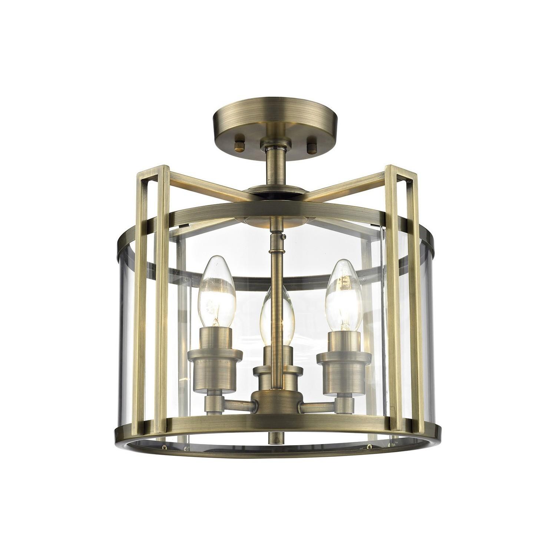 Eaton Semi Ceiling 3xE14 Light Antique Brass/Glass
