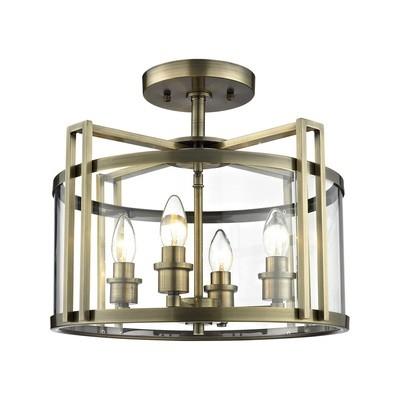 Eaton Semi Ceiling 4xE14 Light Antique Brass/Glass