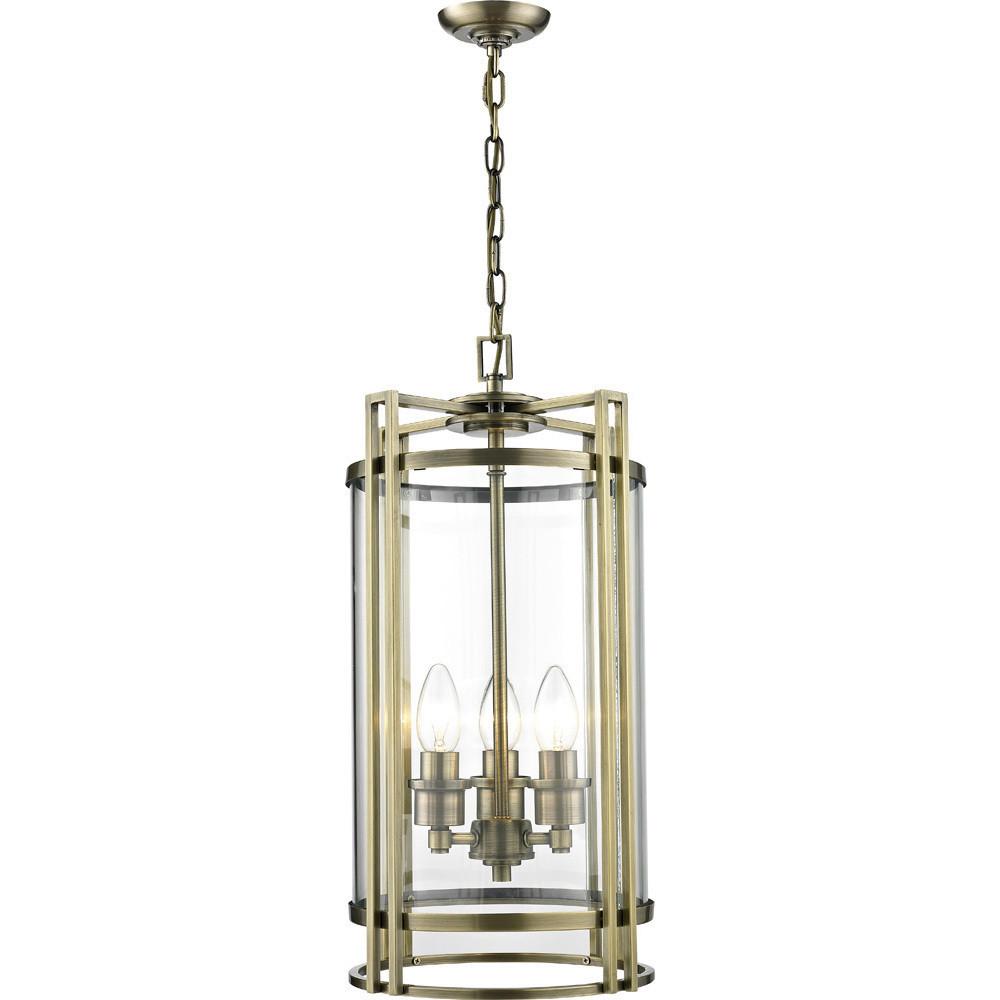 Eaton Pendant 3x E14 Light Antique Brass/Glass