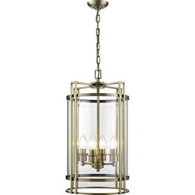 Eaton Pendant 4xE14 Light Antique Brass/Glass