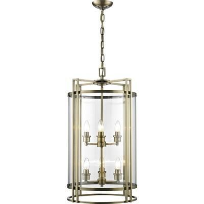 Eaton Pendant 6xE14 Light Antique Brass/Glass