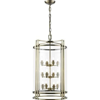 Eaton Pendant 12xE14 Light Antique Brass/Glass