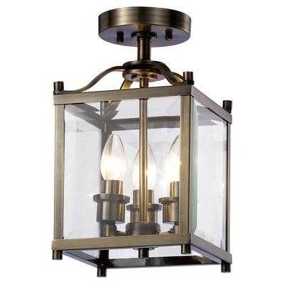 Aston Semi Ceiling 3xE14 Light Antique Brass/Glass