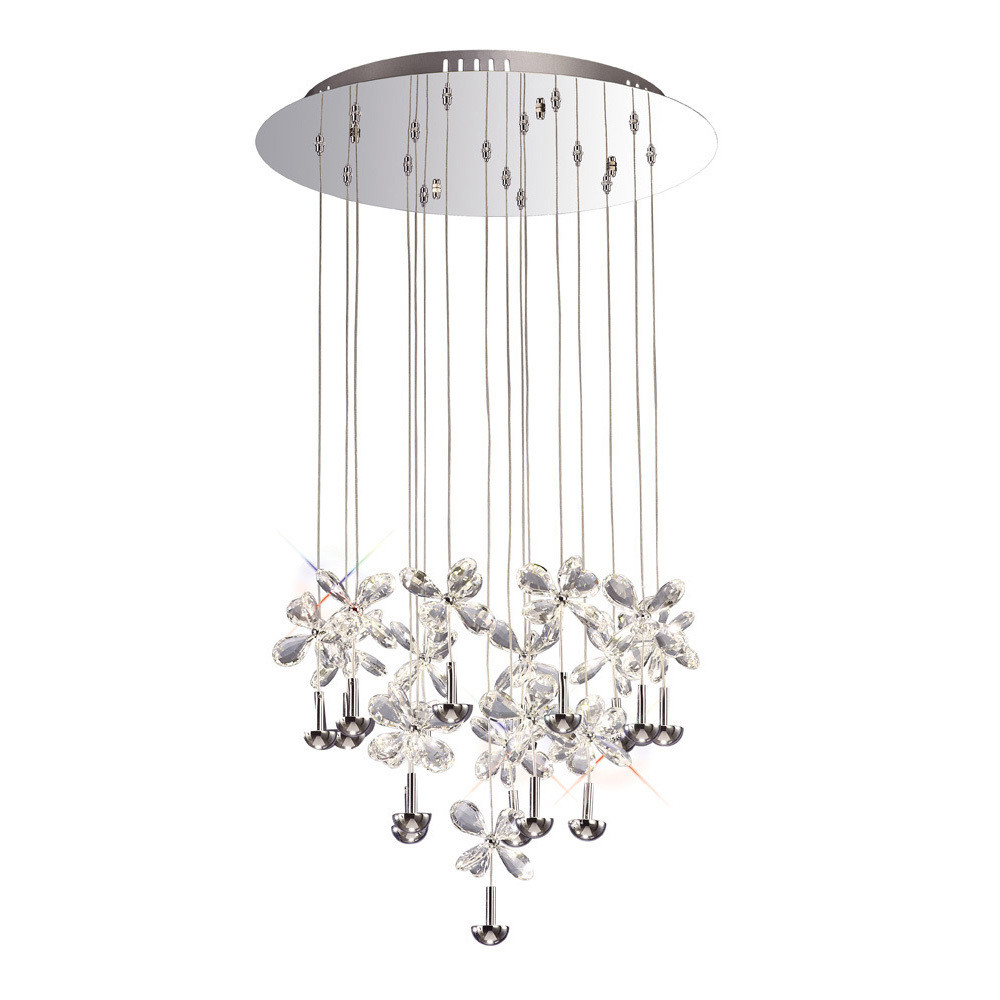 Diyas IL31146 Aviva Pendant Round 16 Light 4000K LED Polished Chrome/Crystal