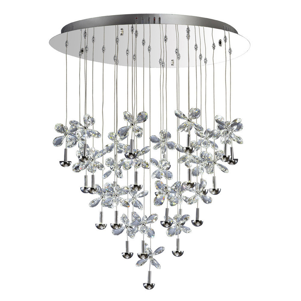 Diyas IL31147 Aviva Pendant Round 28 Light 4000K LED Polished Chrome/Crystal