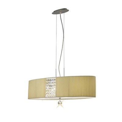 Evelyn Pendant Oval With Cream Shade 4 Light Polished Chrome/Crystal