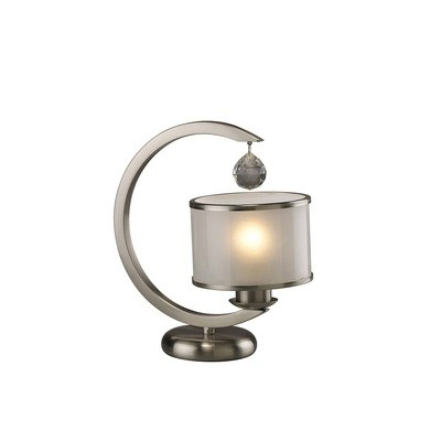 Lincoln Table Lamp 1 Light Satin Nickel/Glass/Crystal
