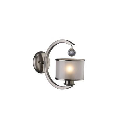 Lincoln Wall Lamp 1 Light Satin Nickel/Glass/Crystal