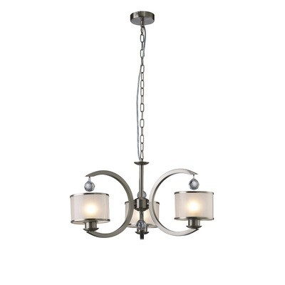 Lincoln Ceiling 3 Light Satin Nickel/Glass/Crystal