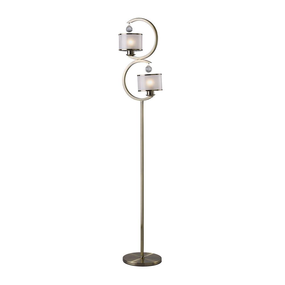 Lincoln Floor Lamp 2 Light Satin Nickel/Glass/Crystal