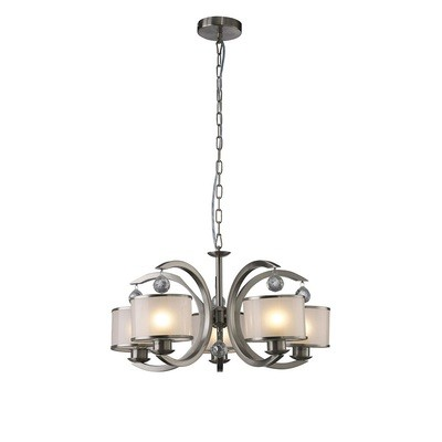 Lincoln Pendant 5 Light Satin Nickel/Glass/Crystal