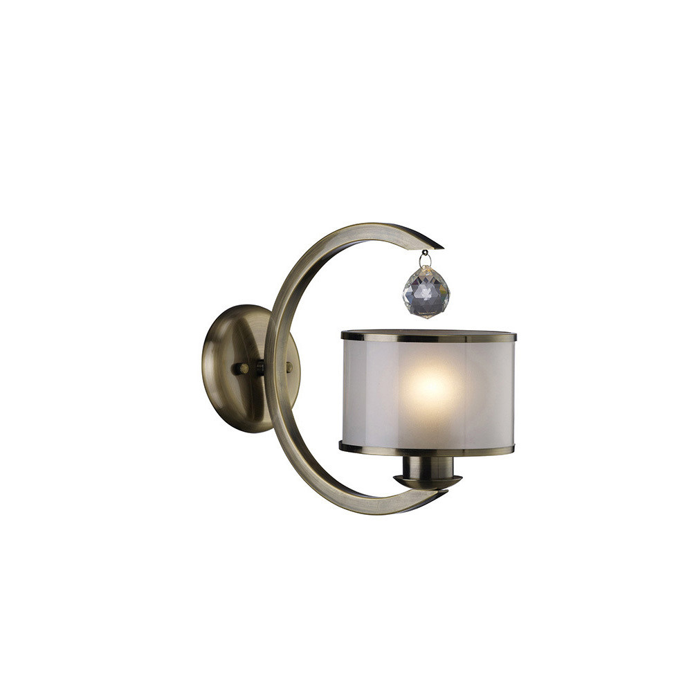 Lincoln Wall Lamp 1 Light Antique Brass/Glass/Crystal