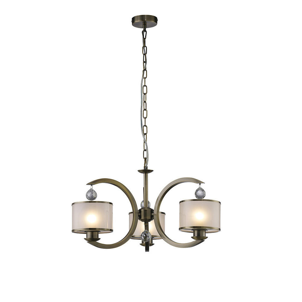 Lincoln Ceiling 3 Light Antique Brass/Glass/Crystal