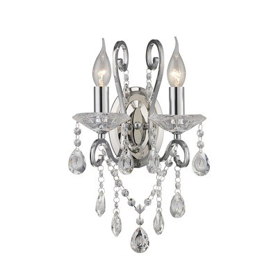 Vela Wall Lamp Switched 2 Light Polished Chrome/Crystal