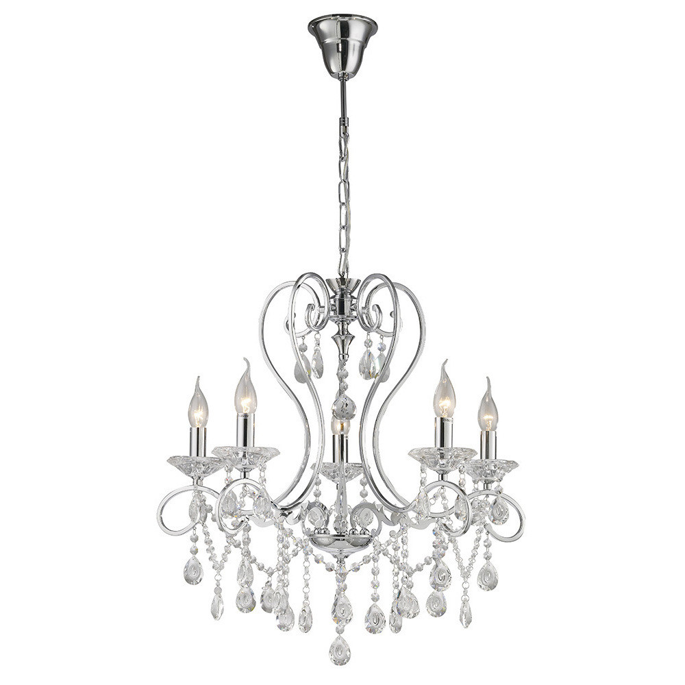 Vela Pendant 5 Light Polished Chrome/Crystal
