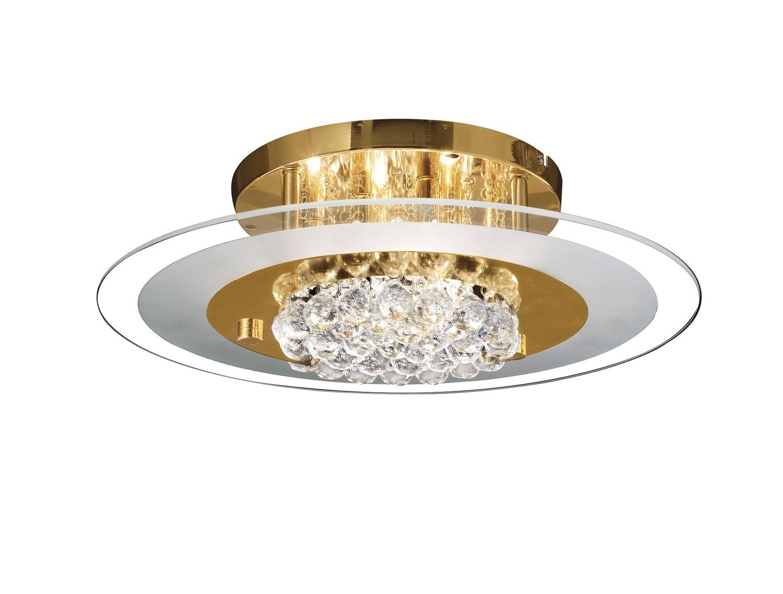 Delmar Flush Round 6 Light French Gold/Glass/Crystal