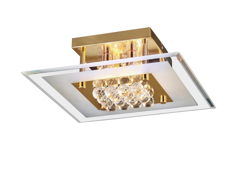 Delmar Flush Square 4 Light French Gold/Glass/Crystal
