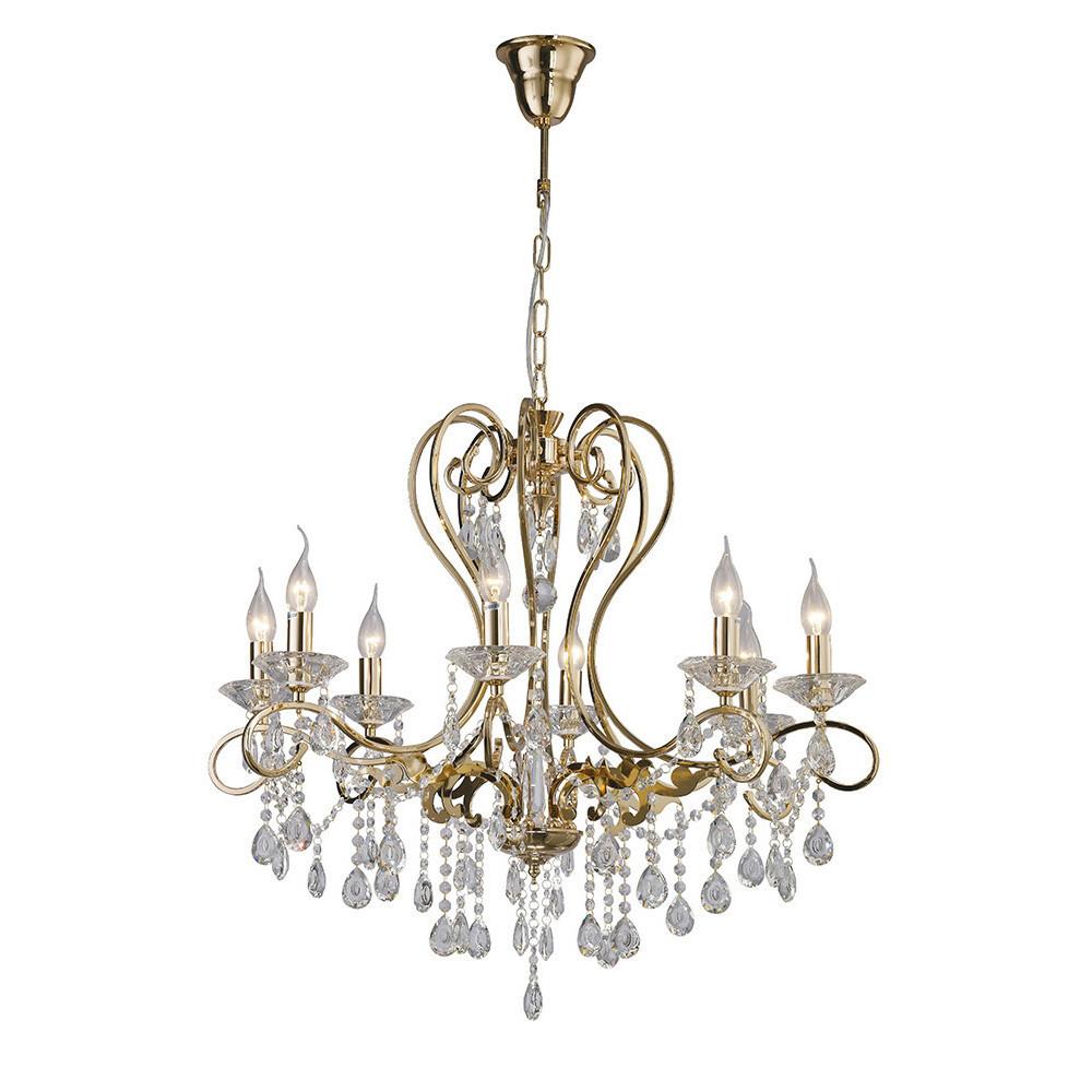Vela Pendant 8 Light French Gold/Crystal