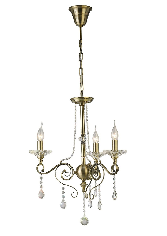 Libra Pendant 3 Light Antique Brass/Crystal