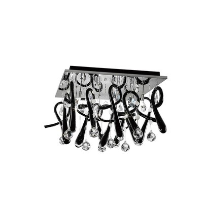 Class Ceiling Square 10 Light Polished Chrome/Black Glass/Crystal