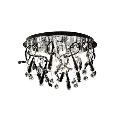 Class Ceiling Round 20 Light Polished Chrome/Black Glass/Crystal