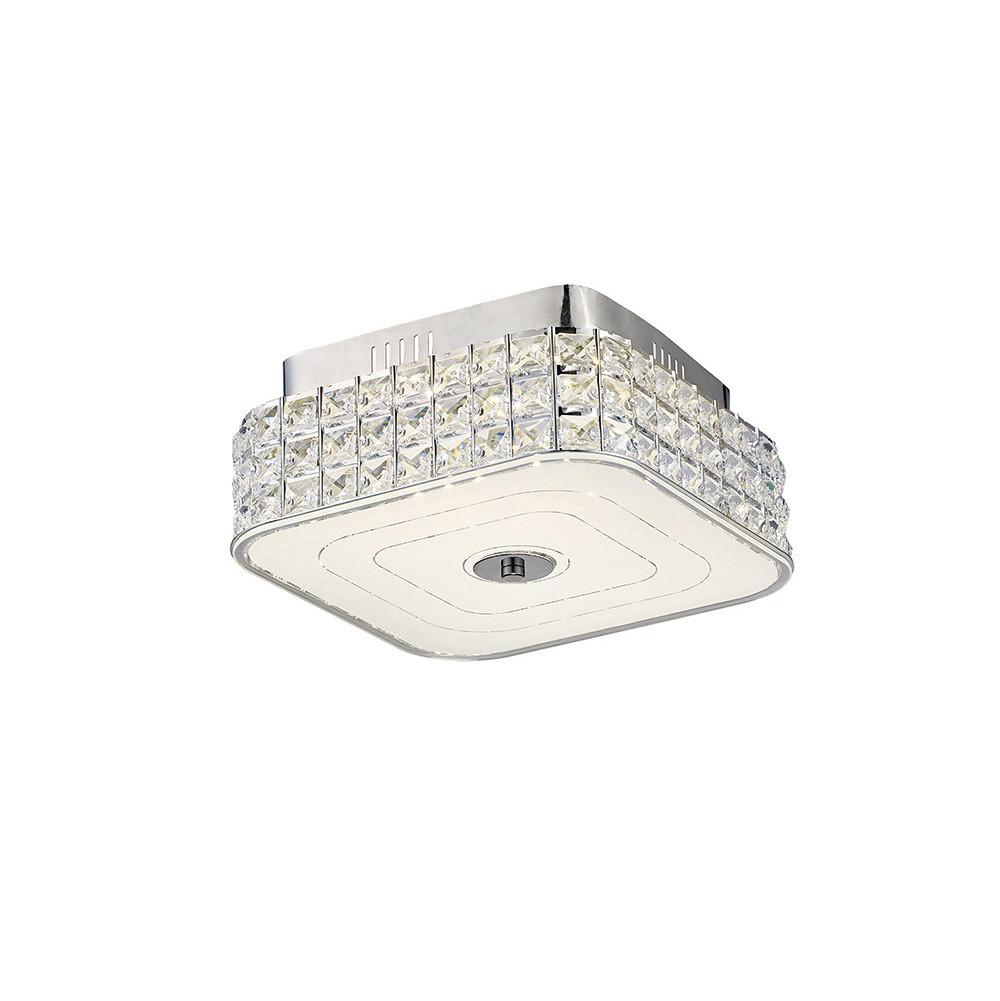 Hawthorne Square Ceiling 18W 1050lm LED 4000K Polished Chrome/Crystal