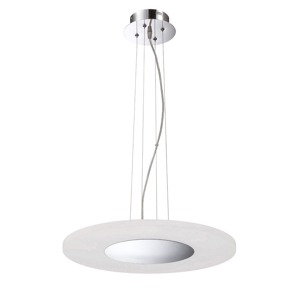 Notte Pendant 28W LED Round 3000K, 1800lm, Polished Chrome/Frosted Acrylic, 3yrs Warranty