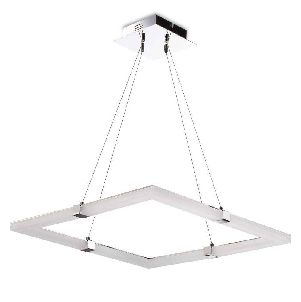Taccía Pendant 28W LED Square 3000K, 2500lm, Polished Chrome/Frosted Acrylic, 3yrs Warranty