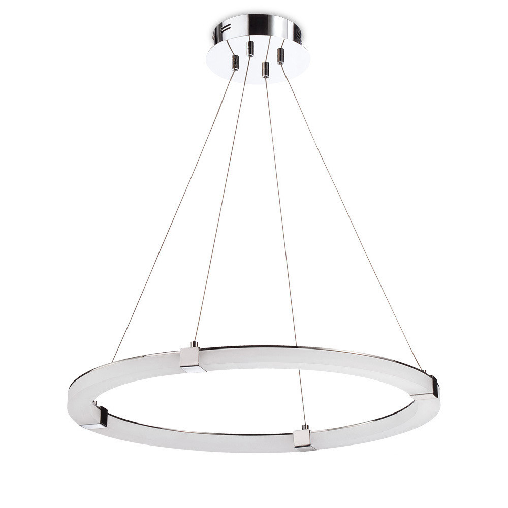 Taccía Pendant 28W LED Round 3000K, 2500lm, Polished Chrome/Frosted Acrylic