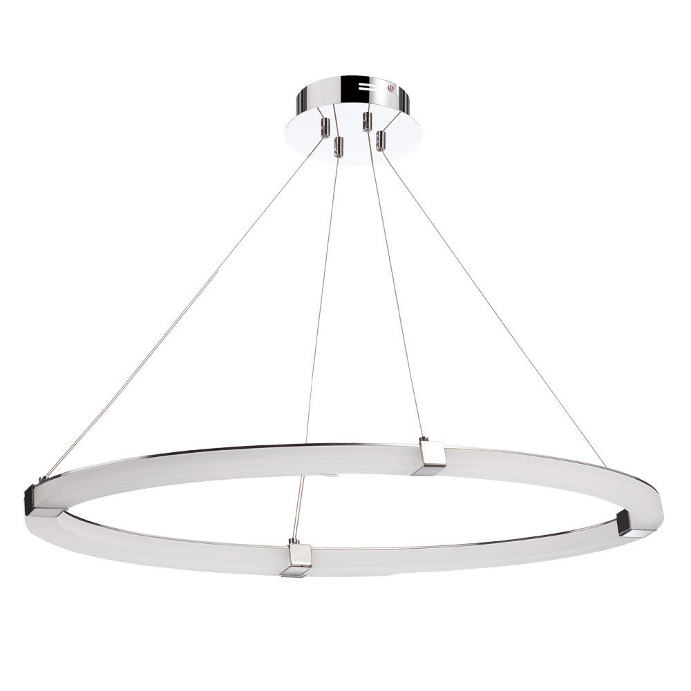 Taccía Pendant 28W LED Oval 3000K, 2500lm, Polished Chrome/Frosted Acrylic, 3yrs Warranty